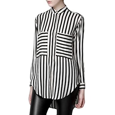 LOCOMO Women Black White Big Pocket Vertical Horizontal Striped ...